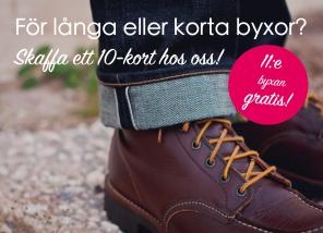 Klippkort - Rabatt för skrädderi. Sy upp jeans billigare i Göteborg bild.